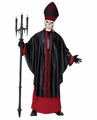 Black Mass Skeleton Priest Grim Reaper Evil Pope Gothic Adult Costume S/M L/XL](Halloween Costumes Black People)