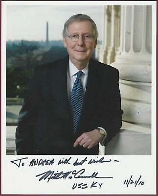 Mitch Mcconnell  Senate Majority Leader  Signed Photo  Coa  Uacc Rd 036