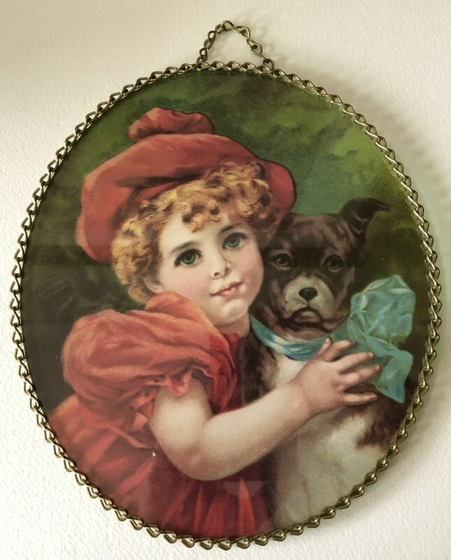 Vintage Flue Cover Victorian Style RED DRESSED Girl WITH DOG Glass Chain Border