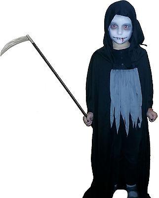 Grim Reaper Kostüm Sensenmann Gr.146/58 mit Sense 1,10 m Halloween Schrecken