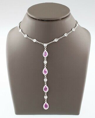 Drop Pink Sapphire Necklace (18k White Gold Pink Sapphire and Diamond Drop Pendant Necklace TCW 4.2)