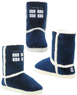 BBC Doctor Who Tardis PLUSH Boots Slippers House Shoes Dr Whoovian Licensed S