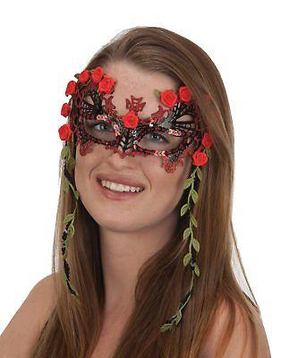 Senorita Day of the Dead Eye Mask Black Red Roses Halloween Costume (Day Of The Dead Masks)