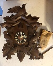NEW Vintage Black Forest Cuckoo Clock - Carved Dark Wood 1950's Germany LOOK!