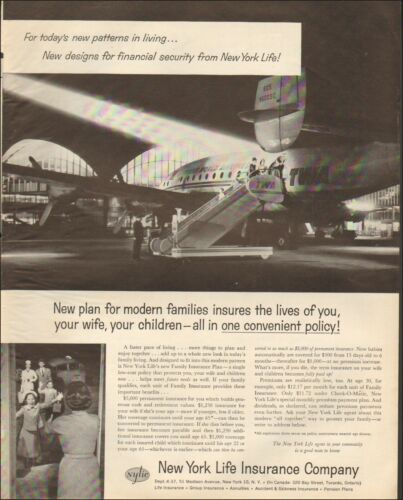 1958 Vintage for New York Life Insurance Comp.Photo retro Plane TWA  091819