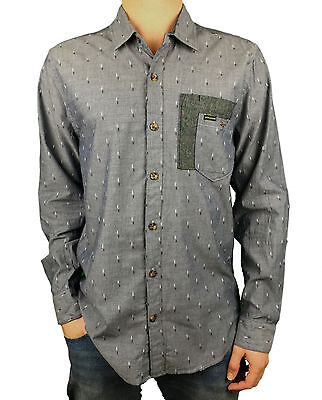 VOLCOM. Mens Button Up Collared Long Sleeve T-Shirt. Blue. Size: S ...