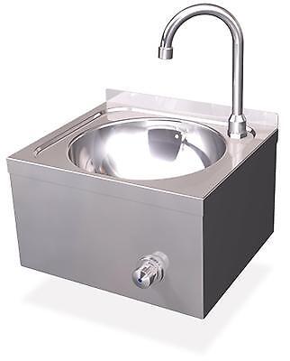 Handwaschbecken Edelstahl Ø 260mm Kniebedienung Gastro Waschbecken Wandmontage