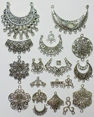 20 Different Antique Silver Jewelry Connectors 4 Necklaces Earring Focal Pieces 4 Antique Silver Jewelry