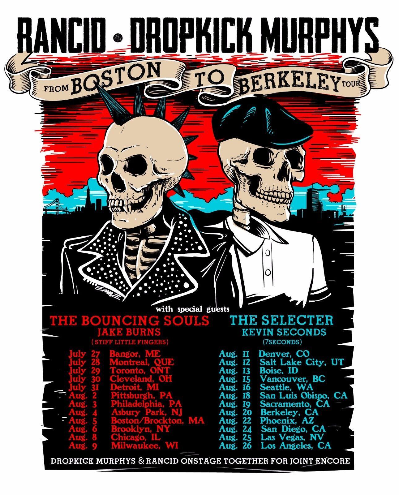 RANCID /DROPKICK MURPHYS 2017 NORTH AMERICAN CONCERT TOUR POSTER-Ska/Celtic Punk - $11.99