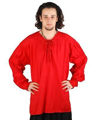 Mens Pirate Costume Shirt Captain Renaissance Faire V-Neck Lace Up Front Red