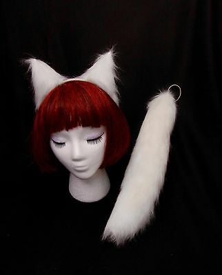 """White Arctic Fox Wolf Cat Dog Ears-13"""" Tail Set, Great Cosplay High Quality"""