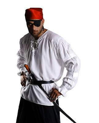 Mens Pirate Costume Shirt Captain Renaissance Faire V-Neck Lace Up Front White - Renaissance Faire Costumes Men