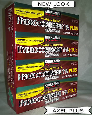 Kirkland-Hydrocortisone 1% Anti-Itch-Rash Relief Cream With Aloe,2-oz (4 Tubes)