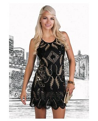 Women's 1920s Art Deco Flapper Great Gatsby Dress Sequins Black Gold Costume - Great Womens Costumes