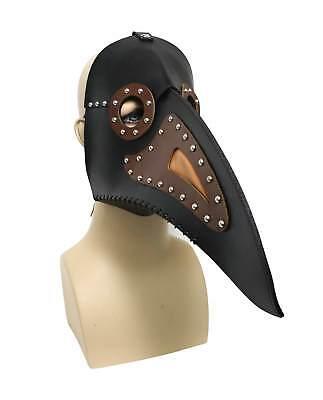 Men's Steampunk Bird Costume Mask Medieval Plague Doctor Beak Faux Leather