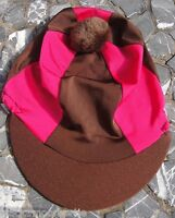Riding Hat Silk Skull Cap Cover Brown & Hot Cerise Pink With Or W/o Pompom - affordable horseware - ebay.co.uk