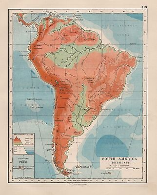 1920 VINTAGE MAP- SOUTH AMERICA, PHYSICAL