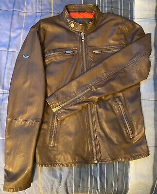 Leather Jacket Brown Superdry Small