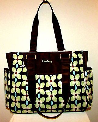 GERBER BROWN WITH FLOWER PRINT COATED CANVAS DIAPER BAG W STAIN RESISTANT LINING Gerber Diaper Bag