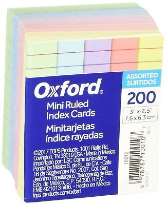 Oxford Mini Ruled Index Cards Ruled 3. X 2.5 Assorted Colors 200 Ea