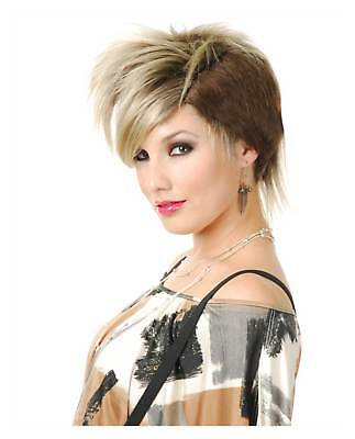 Women's Blonde Punk Rocker Costume Wig Short Jagged Undercut Musician - Female Rocker Costume
