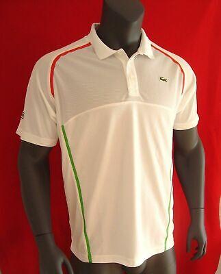 Lacoste SPORT White Racing Stripes Men's Ultra Dry Mesh Polo Shirt NEW Size 2XL