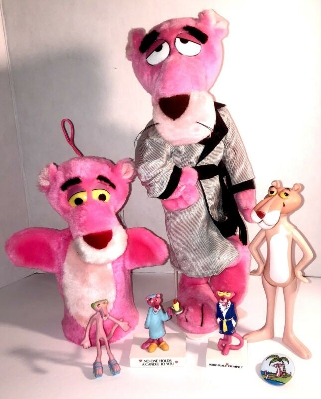 HUGE Vintage PINK PANTHER Toy Lot: PVC Figures, Plush Doll, Hand Puppet & More!