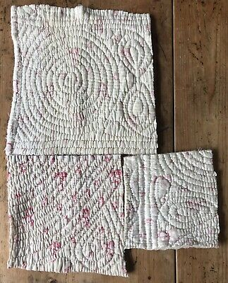 Vintage Time Worn In Welsh Quilt Larger Pieces- Antique Pink White Floral Bundle
