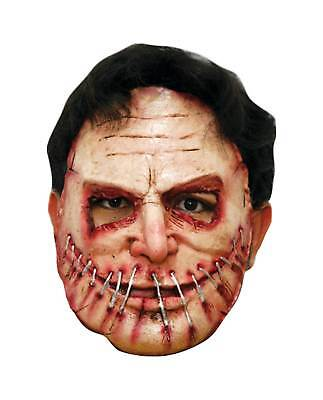 Killer Sewn Mouth Latex Costume Mask Stitches Half Halloween Party Scary - Stitched Mouth Halloween Costume