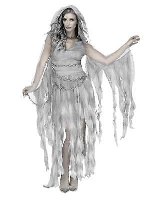 Enchanted Ghost Grey Adult Womens Halloween Costume Hooded Gown with Chain Dress