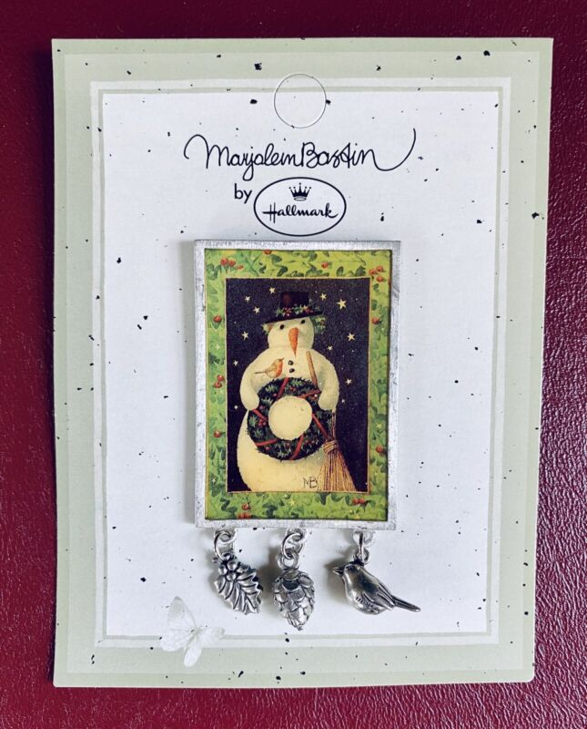 Marjolein Bastin Brooch Pin w/ Dangling Charms ~ Snowman Winter Holiday New/Vtg