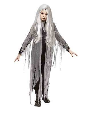 Girl's Gauze Ghost Child Halloween Costume Black Dress Hooded Wig Wraith M - Ghost Girl Costume Halloween