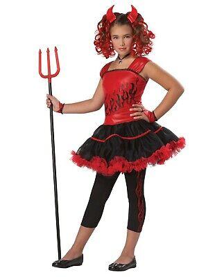 Devil Costume Child (Girls Sassy Devil Child Costume Red Dress Leggings Horns Demon Tutu Sz Small)