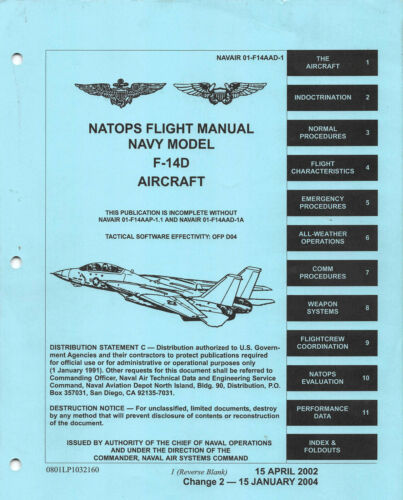 """F-14D """"Super"""" Tomcat Flight Manual Aircraft Manual -CD"""