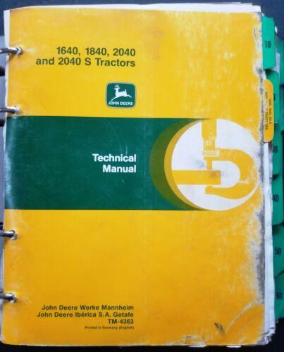 John Deere 1640-1840-2040 Tractors Service Manual -TM 4363 - In Binder