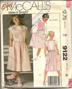 Vintage 1980s McCalls 9122 Girl Skirt Straps Bibs Pattern Size 12 Greenwood Joondalup Area Preview