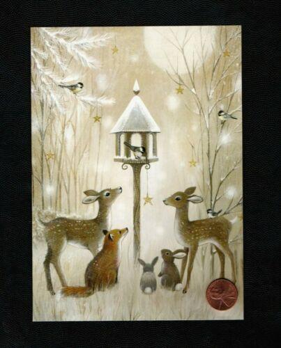 CHRISTMAS  Fox Deer Doe Rabbits Birdhouse Chickadee - Greeting Card W/ TRACKING
