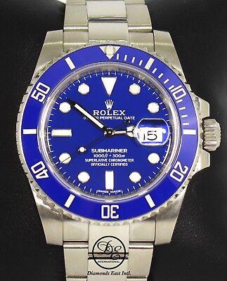 ROLEX Submariner 116619LB 18k White Gold Ceramic Bezel Watch BOX/PAPER *MINT*