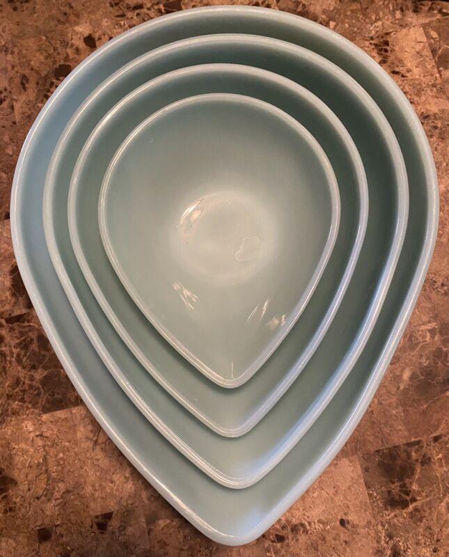 4 Vintage Fire King Delphite Blue Teardrop Mixing Bowl Set Excellent Condition!!
