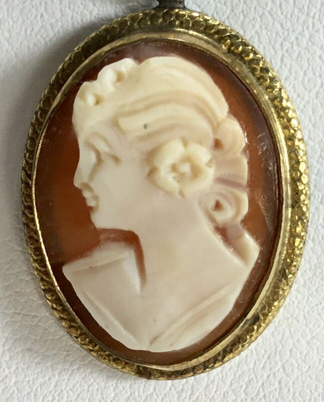 Vintage Gold Filled Cameo Left Facing Woman With Flower in Hair Pendant Shell