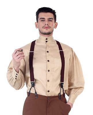 Men's Steampunk Old-Fashioned Western Costume Shirt Amish Victorian Amish Beige](Old Fashioned Costumes)