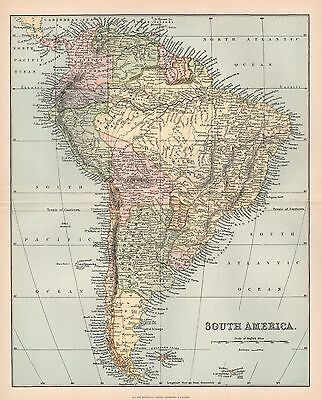 1900 Ca ANTIQUE MAP SOUTH AMERICA 2