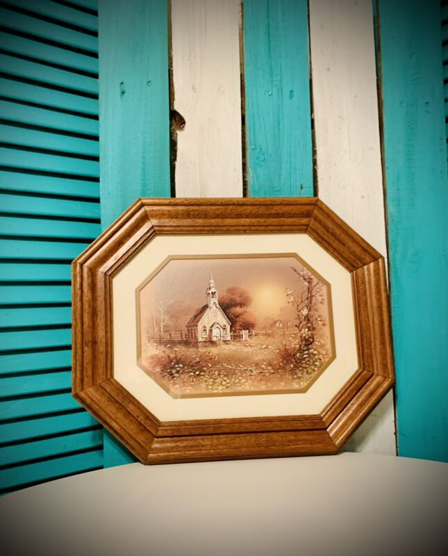 Vintage Octagon Solid Wood Picture Frame Country Chapel Fits 11x14 Or 8x10 #546