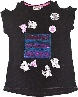 Ex Chain Store Official Pokemon Sequin Top Girls Childrens Kids 10 12 14 16