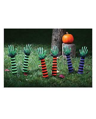 Halloween Decor Witch Arms Yard Stakes Orange Green Purple Fall Festive Classic - Fall Festival Decorations