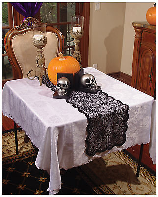 NEW~Black Spider Web Lace Table Runner 72