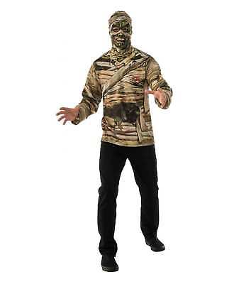 Adult Mens Mummy Costume Shirt Mask Rotting Undead Zombie Halloween Easy Work