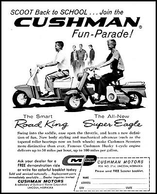 1959 Cushman Husky Scooters super eagle road king vintage photo print ad (ADL9)  for sale  Seymour