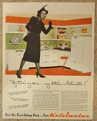 1948 Kelvinator Kitchen Range Refrigerator Freezer Original Print Ad
