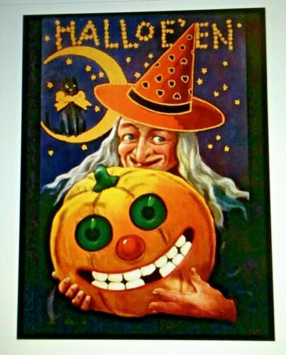 *UNUSED* Halloween Postcard: Purple Retro Witch Vintage Image~Reproduction